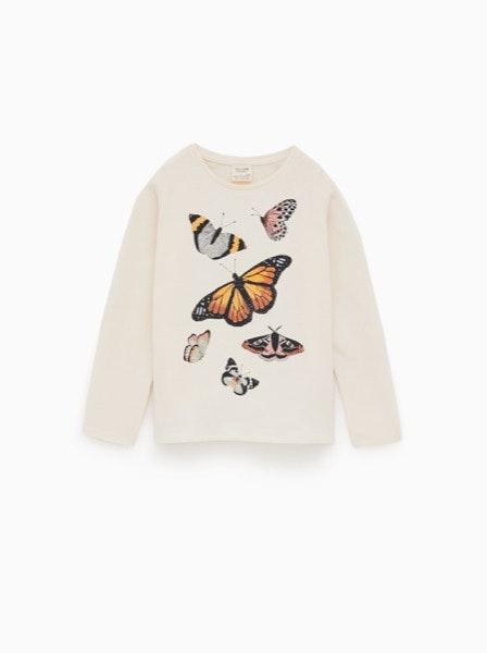 T-shirt borboletas Zara, 3,95€