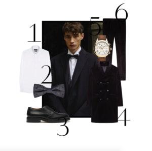 1. Camisa (preço sob consulta) | 2. Laço, 29,95€ | 3. Sapatos (preço sob consulta) | 4. Sobretudo (preço sob consulta) | 5. Relógio, 129€ | 6. Calças, 59,95€