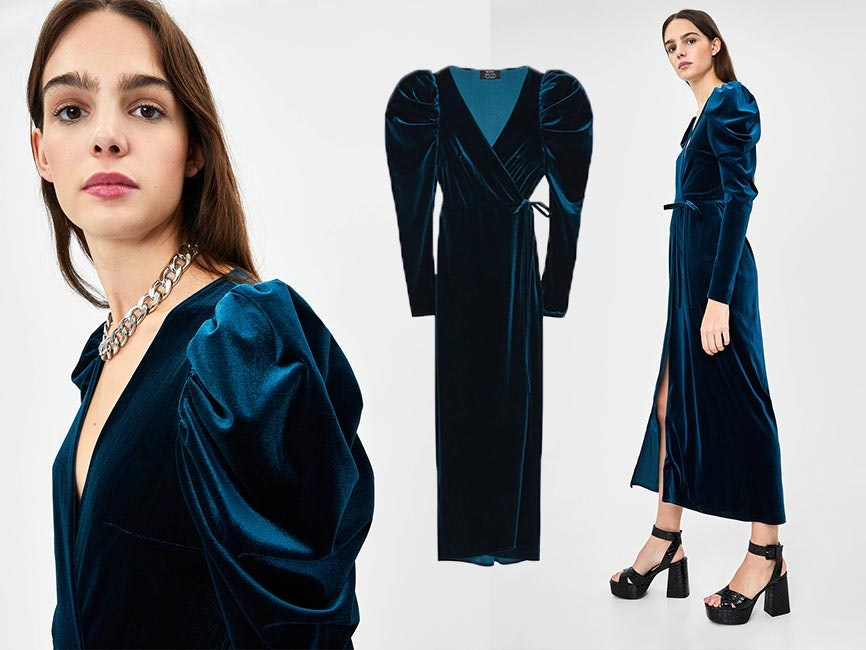 Vestido comprido de veludo, Bershka, 29,99€